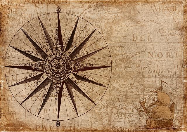 kompas na mapě